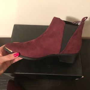 expression Shoes - NWOT Suede like ox blood/burgundy booties